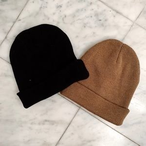 Black and Brown Camel Winter Knit knitted Beanie